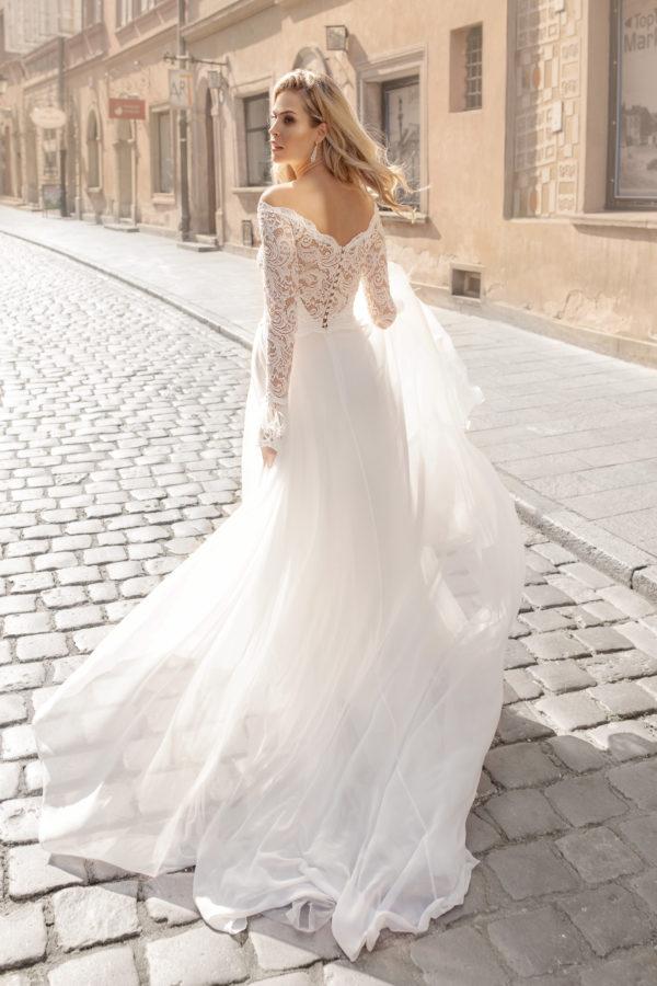Brautkleid Mode De Pol Theone Marabufedern Herzausschnitt Chiffon A Linie Carmen To 1044t 02