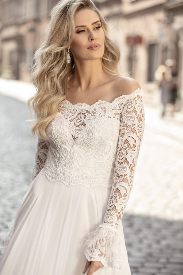 Brautkleid Mode De Pol Theone Marabufedern Herzausschnitt Chiffon A Linie Carmen To 1044t 04