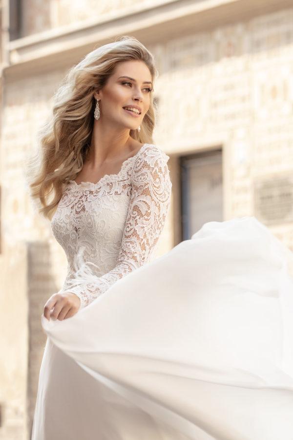 Brautkleid Mode De Pol Theone Marabufedern Herzausschnitt Chiffon A Linie Carmen To 1044t 05
