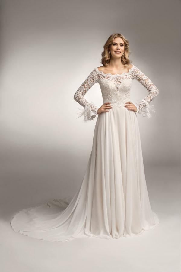 Brautkleid Mode De Pol Theone Marabufedern Herzausschnitt Chiffon A Linie Carmen To 1044t 06