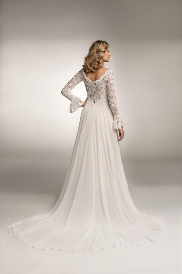 Brautkleid Mode De Pol Theone Marabufedern Herzausschnitt Chiffon A Linie Carmen To 1044t 07