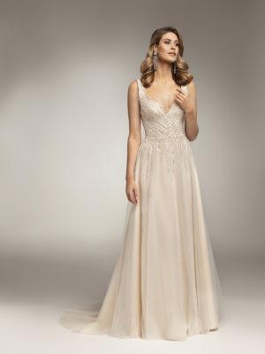 Brautkleid Mode De Pol Theone Pailletten Herzausschnitt Tüll A Linie Schulterträger To 986t 01