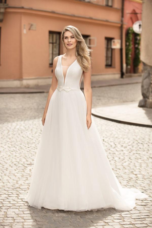Brautkleid Mode De Pol Theone Schlicht Gürtel V Ausschnitt Tüll A Linie Schulterträger To 1045t 01
