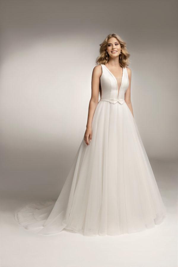 Brautkleid Mode De Pol Theone Schlicht Gürtel V Ausschnitt Tüll A Linie Schulterträger To 1045t 03