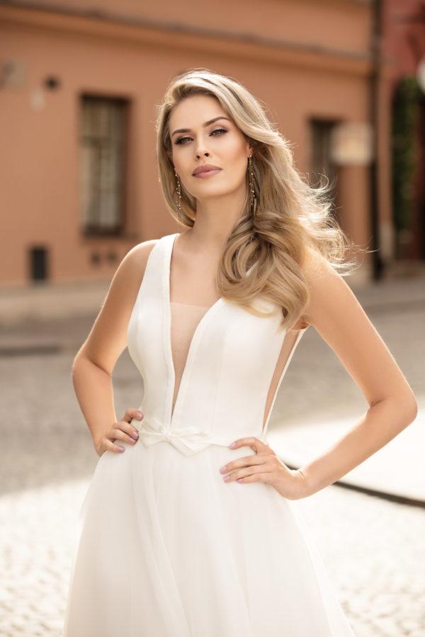 Brautkleid Mode De Pol Theone Schlicht Gürtel V Ausschnitt Tüll A Linie Schulterträger To 1045t 04