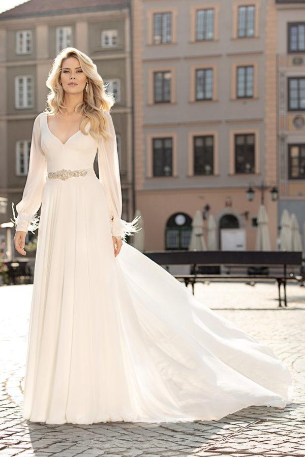 Brautkleid Mode De Pol Theone Schlicht Marabufedern Strassapplikation Gürtel V Ausschnitt Chiffon Empire Schulterträger To 1003t 01