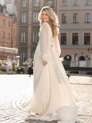 Brautkleid Mode De Pol Theone Schlicht Marabufedern Strassapplikation Gürtel V Ausschnitt Chiffon Empire Schulterträger To 1003t 02