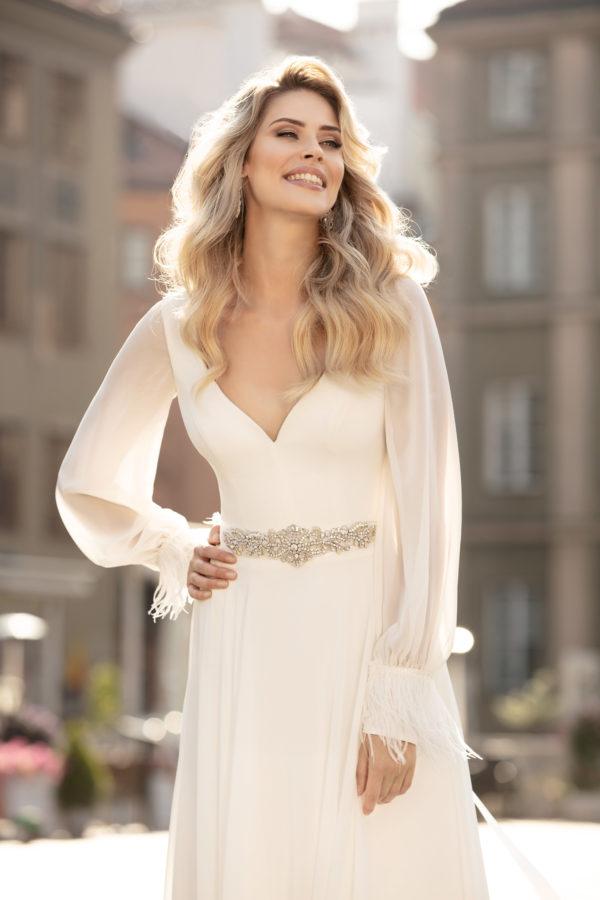 Brautkleid Mode De Pol Theone Schlicht Marabufedern Strassapplikation Gürtel V Ausschnitt Chiffon Empire Schulterträger To 1003t 03
