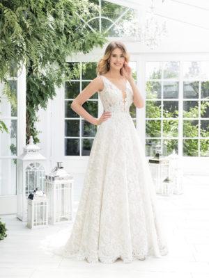 Brautkleid Mode De Pol Theone Transparent Allover Spitze V Ausschnitt Spitze A Linie Schulterträger To 900t 01
