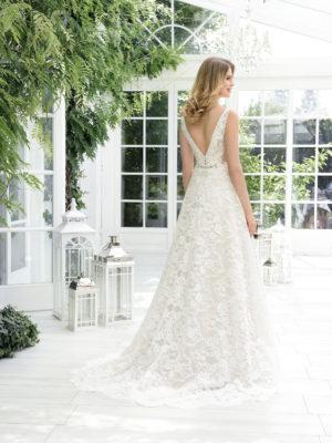 Brautkleid Mode De Pol Theone Transparent Allover Spitze V Ausschnitt Spitze A Linie Schulterträger To 900t 02