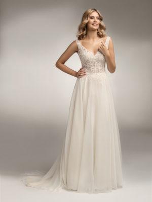 Brautkleid Mode De Pol Theone Transparent Blumendeko Herzausschnitt Chiffon A Linie Schulterträger To 1051t 01