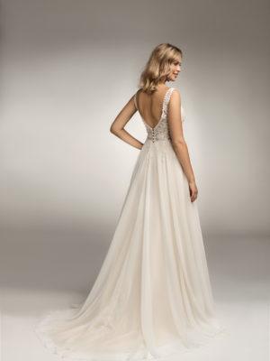 Brautkleid Mode De Pol Theone Transparent Blumendeko Herzausschnitt Chiffon A Linie Schulterträger To 1051t 02