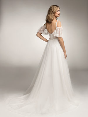 Brautkleid Mode De Pol Theone Transparent Blumendeko Spaghettiträger Herzausschnitt Tüll A Linie Schulterträger To 1034t 02