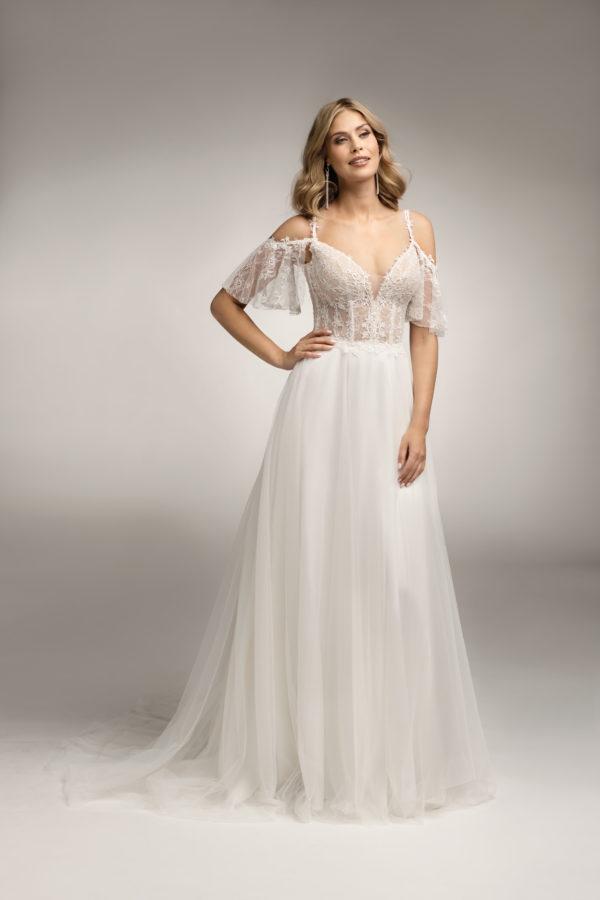 Brautkleid Mode De Pol Theone Transparent Blumendeko Spaghettiträger Herzausschnitt Tüll A Linie Schulterträger To 1034t 04