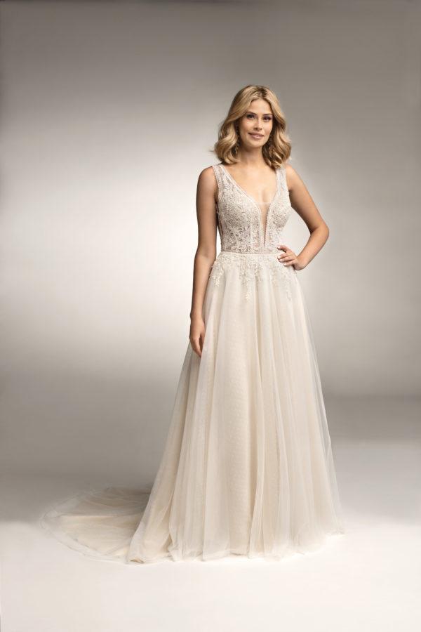 Brautkleid Mode De Pol Theone Transparent Blumendeko V Ausschnitt Tüll A Linie Schulterträger To 1056t 01
