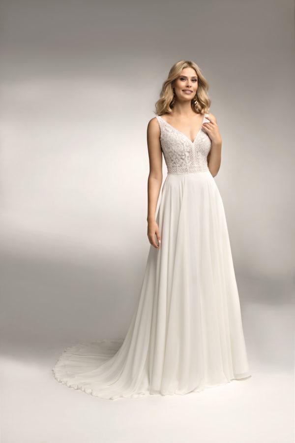 Brautkleid Mode De Pol Theone Transparent Perlen Pailletten Herzausschnitt Chiffon A Linie Schulterträger To 1052t 01