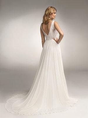 Brautkleid Mode De Pol Theone Transparent Perlen Pailletten Herzausschnitt Chiffon A Linie Schulterträger To 1052t 02