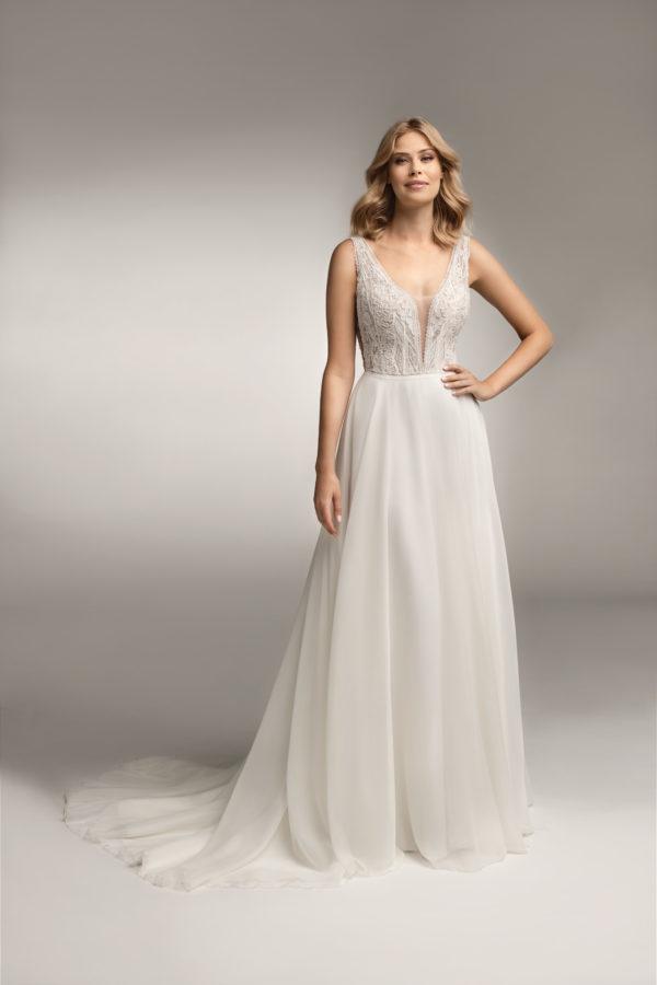 Brautkleid Mode De Pol Theone Transparent Perlen Pailletten V Ausschnitt Chiffon A Linie Schulterträger To 1061t 01