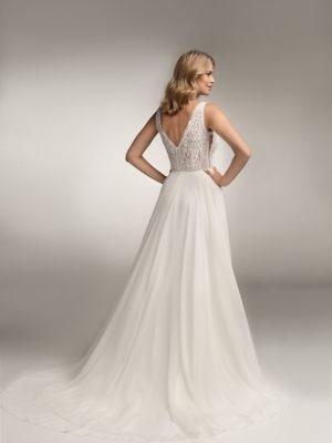 Brautkleid Mode De Pol Theone Transparent Perlen Pailletten V Ausschnitt Chiffon A Linie Schulterträger To 1061t 02