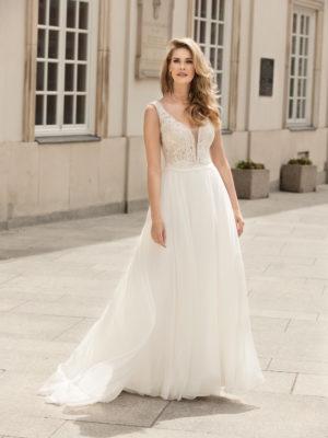 Brautkleid Mode De Pol Theone Transparent V Ausschnitt Chiffon A Linie Schulterträger To 1055t 01