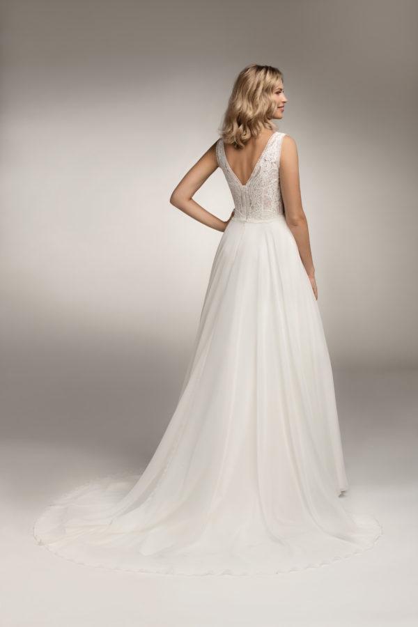Brautkleid Mode De Pol Theone Transparent V Ausschnitt Chiffon A Linie Schulterträger To 1055t 02