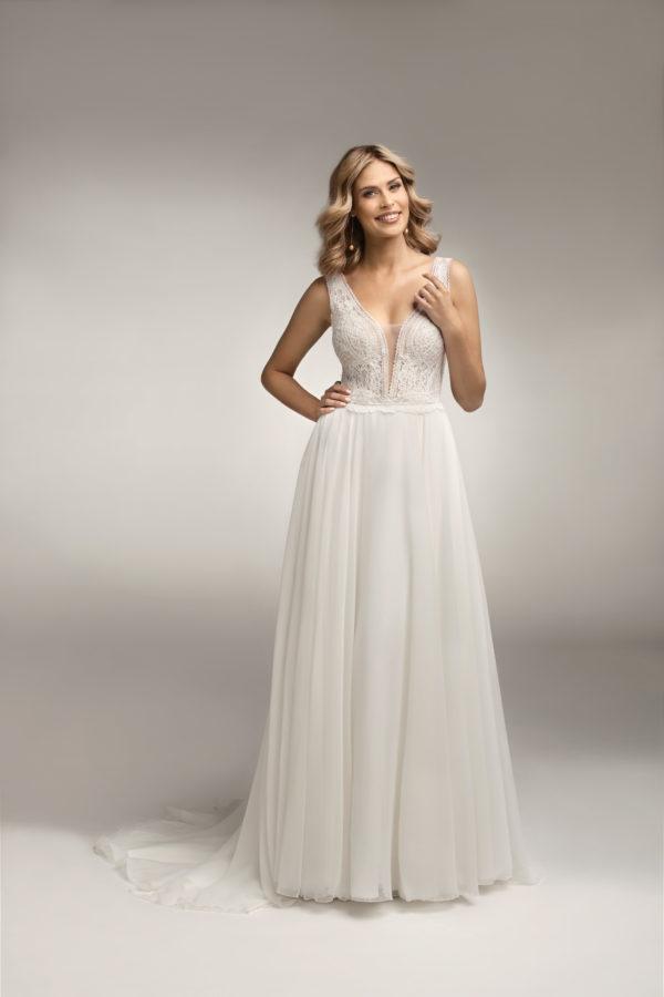 Brautkleid Mode De Pol Theone Transparent V Ausschnitt Chiffon A Linie Schulterträger To 1055t 03