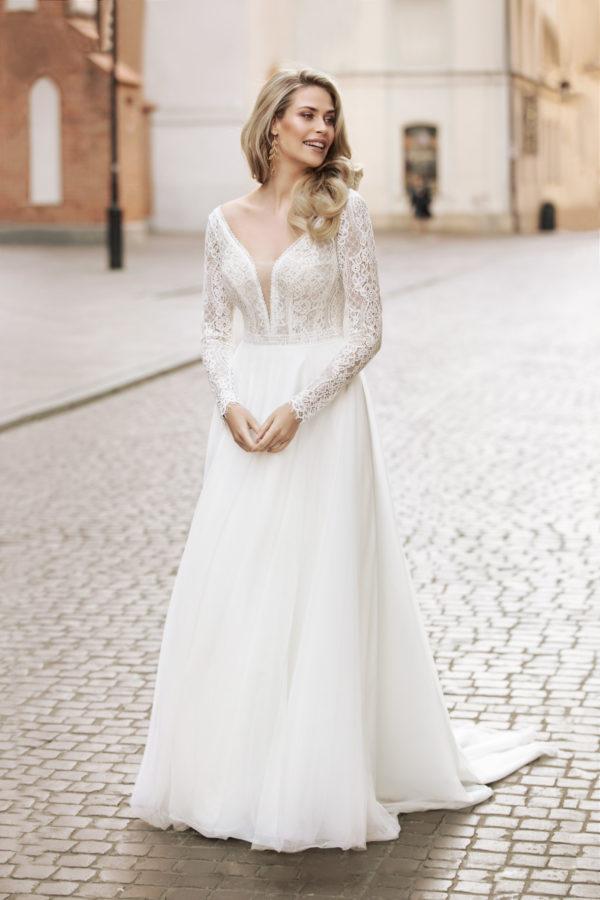 Brautkleid Mode De Pol Theone Transparent V Ausschnitt Tüll A Linie Schulterträger To 1046t 01