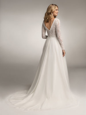 Brautkleid Mode De Pol Theone Transparent V Ausschnitt Tüll A Linie Schulterträger To 1046t 02