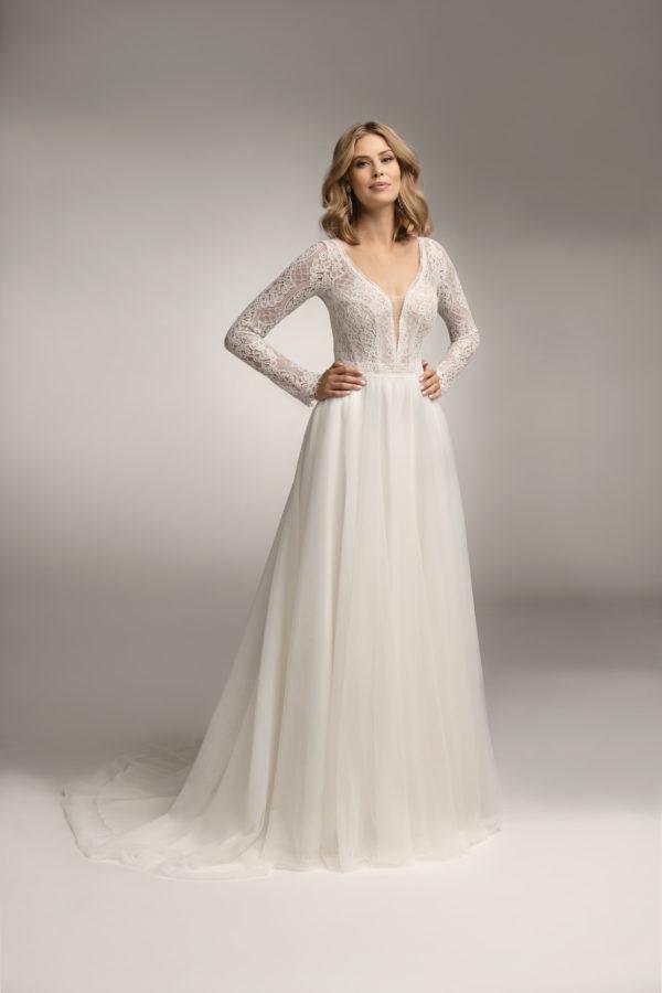 Brautkleid Mode De Pol Theone Transparent V Ausschnitt Tüll A Linie Schulterträger To 1046t 03
