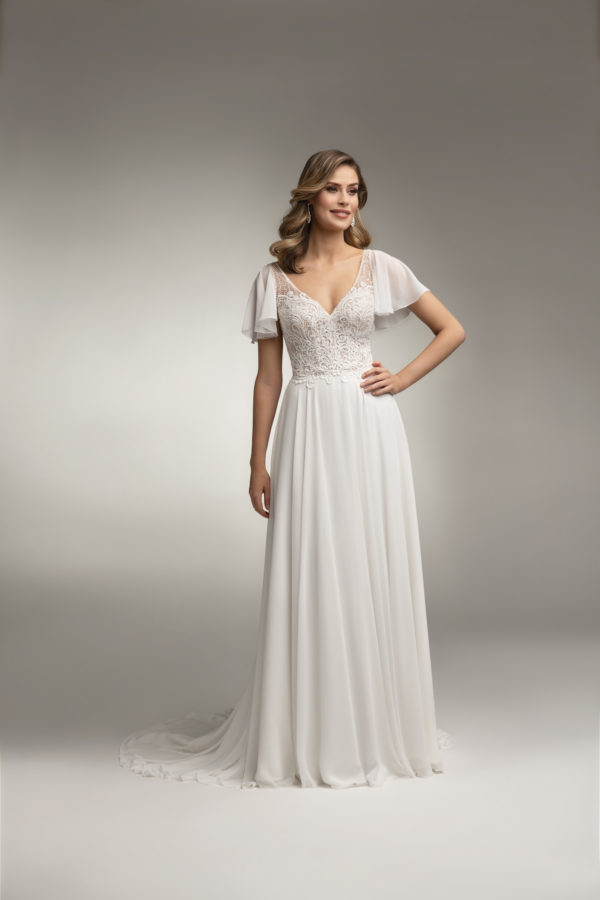 Brautkleid Mode De Pol Theone Transparent Volants Herzausschnitt Chiffon A Linie Schulterträger To 1019t 01
