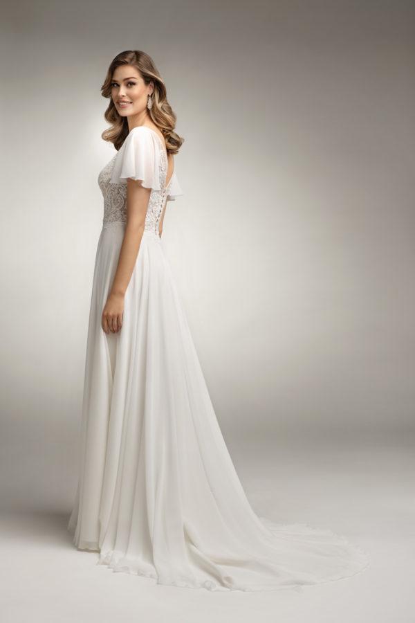 Brautkleid Mode De Pol Theone Transparent Volants Herzausschnitt Chiffon A Linie Schulterträger To 1019t 02