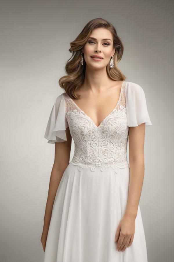 Brautkleid Mode De Pol Theone Transparent Volants Herzausschnitt Chiffon A Linie Schulterträger To 1019t 03